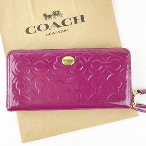 Coach Embossed Patent Leather Accordian Zip Wallet